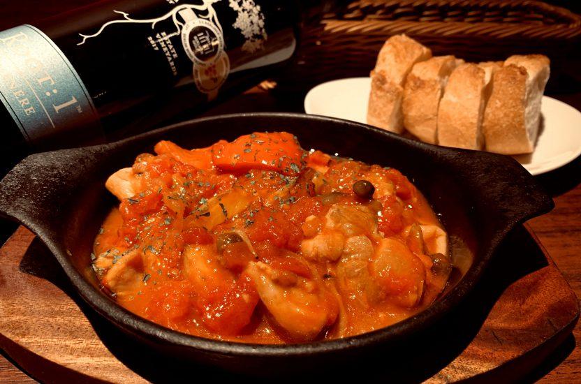 【今週の週替わりランチ:千葉県産 総州古白鶏のトマト煮込みランチ(950円)】