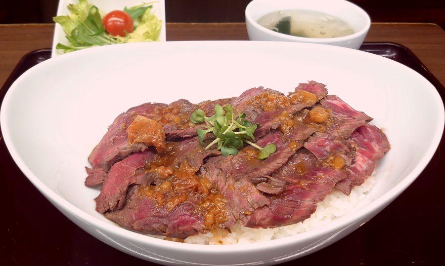 【BeefGarden恵比寿の今週の週替わりランチ:ビーフステーキ丼~特製梅肉ソース~(990円)】